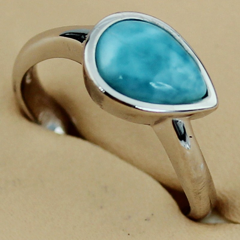 Fleure Esme Vintage Larimar ring women jewelry Silver Plated Time limited discount R3530 sz# 7 Romantic Style Women Jewelry Gift