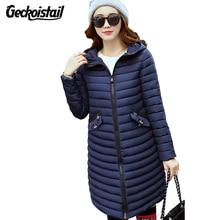 Geckoistail Winter Fashion Slim Woman Parka Jackets Hooded Down Cotton Warm Jacket Coats Woman Casual Parkas Outerwear Plus Size