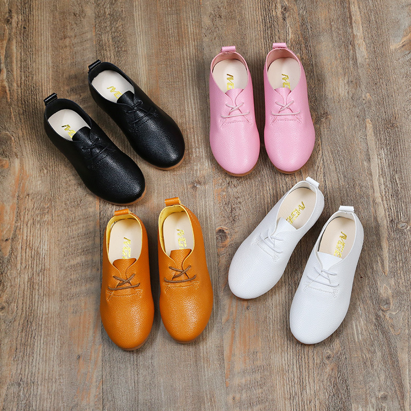 Kids Leather Shoes for girl Boy White Shoes Leather Childrens Shoes Sneaker Soft Bottom Slip-on Causal Peas Shoes England Style