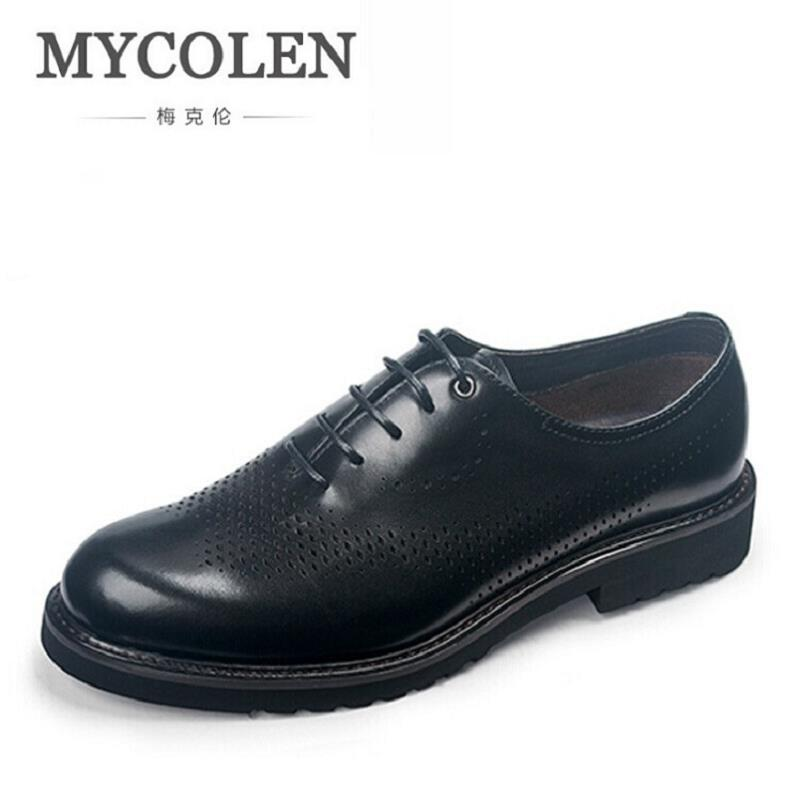 MYCOLEN Italian Men Black Brown Plus Size Dress Shoes Genuine Leather Lace Up Man Formal Shoes Breathable Hollow Out Footwear good quality men genuine leather shoes lace up men s oxfords flats wedding black brown formal shoes
