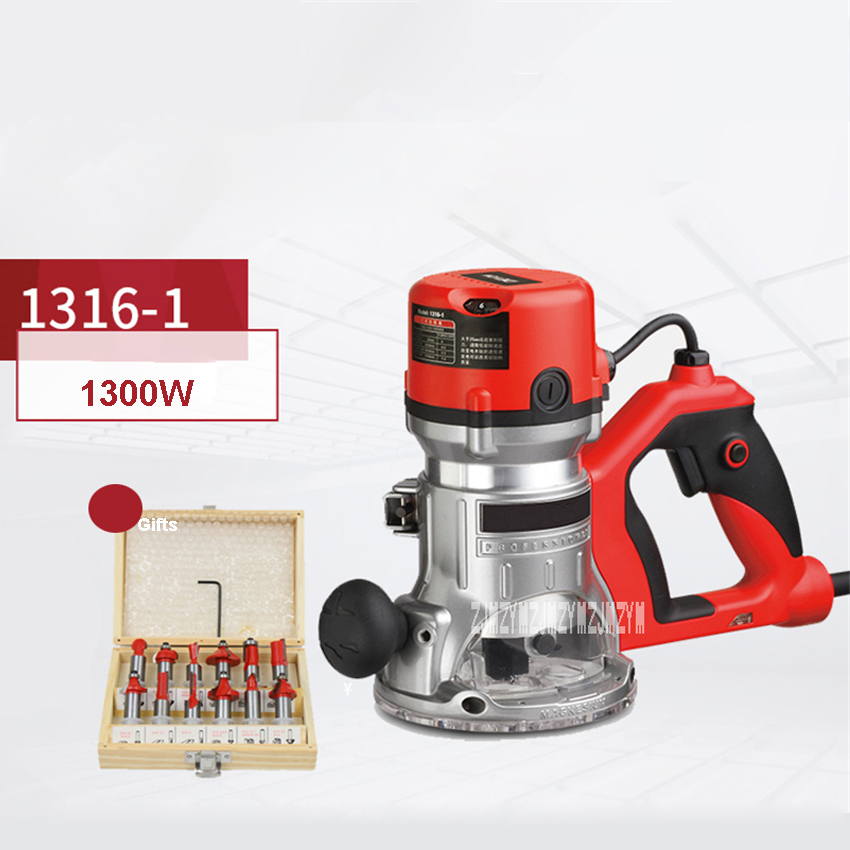 New 1316-1 Handheld Electric Wood Milling Machine D-type Handle Woodworking Tools Trimmer Trimming Engraving Machine 220V 1300W