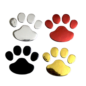 Image 2 - Car Sticker Cool Design Paw 3D Animal Dog Cat Bear Foot Prints Footprint 3M Decal Car Stickers Silver Gold Red Car Accessories