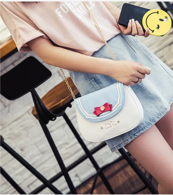 2018 New samantha vega sailor moon ladies long zipper female candy color bowknot is one shoulder bag women leather wallet purse