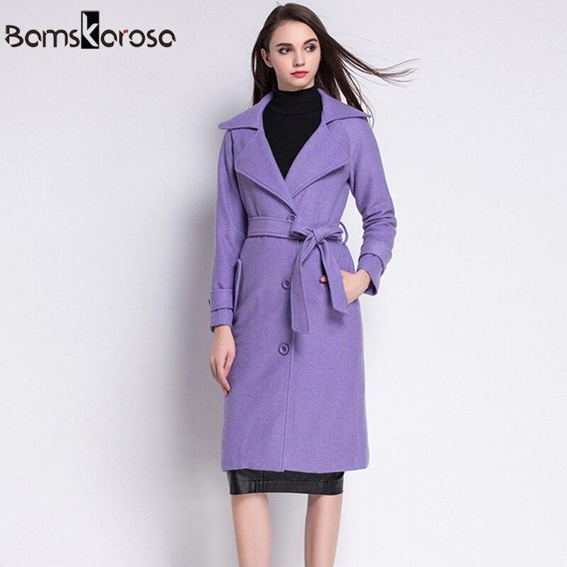 Et Feminino Femmes Chaud Outwear Laine Green Manteaux 2018 Mélanges red Épaissir Nouveau Casaco D'hiver Manteau Vestes Femle violet Mince Longue AOaqw8tz