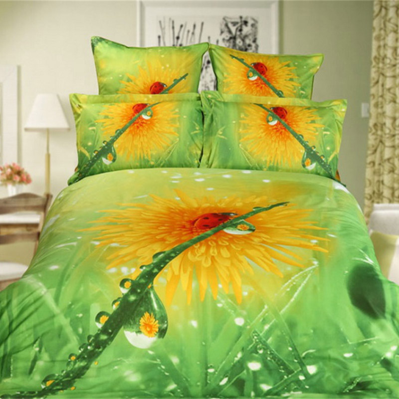 dew ladybug green and yellow floral 3d bedding set 100 cotton bedsheets pillowcase quilt cover