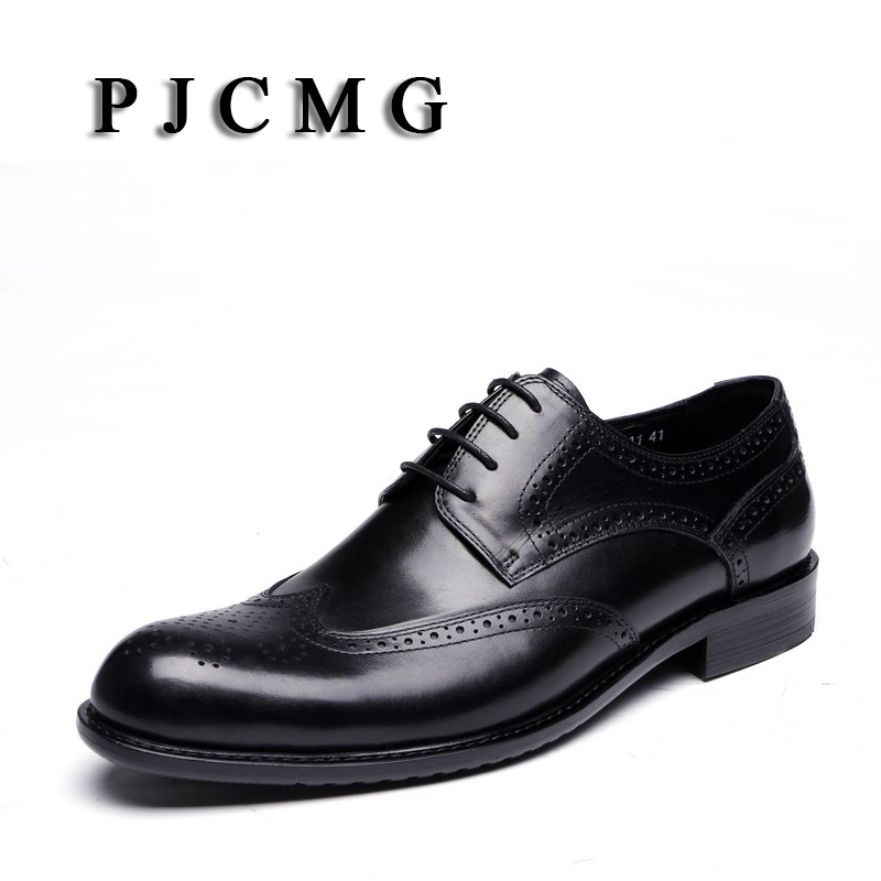 PJCMG New Breathable Black Carved Loafers Mens Dress Genuine Leather Lace-Up Pointed Toe Wedding Mens Casual Business Shoes pjcmg fashion red black oxfords mens business lace up genuine leather pointed toe office dress formal mens wedding shoes