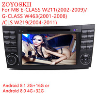 ZOYOSKII Android 8.0 8.1 7inch CAR DVD Radio GPS bluetooth Navigation player for For Mercedes Benz w211 W209 W219 2.5 IPS screen