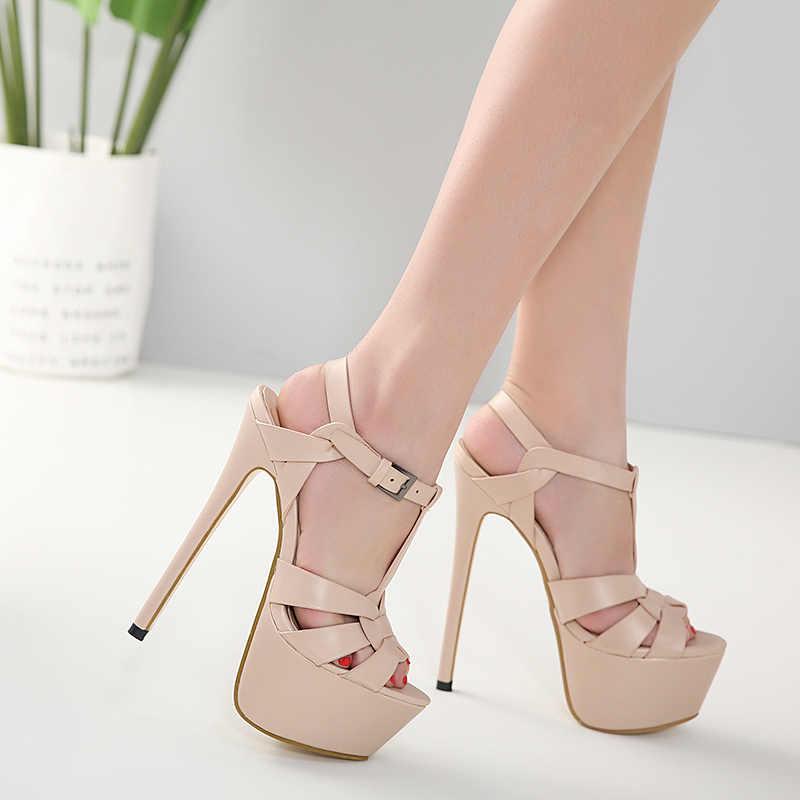 Kadın Sandalet Düğün Büyük Boy Yüksek Topuk 18 cm Platformu 2019 Sandalet Kızlar Poz Çelik Boru Ayakkabı Yaz bayan