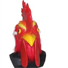 Halloween Cosplay Red Latex rooster Adults Mad Animal  cockerel Mask