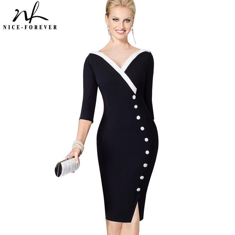 Nice-forever  Mature Elegant Sexy V-neck Stylish Button Work Dress Office Bodycon Female 3/4 Sleeve Sheath Woman Dress B335