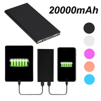 Free Shipping Mobile Power Bank 20000mah Universal Lighting Charging Portable Cell Phone Pack Backup USB External