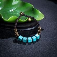 Amourjoux богемный Винтажный Зеленый квадратный браслет ручной