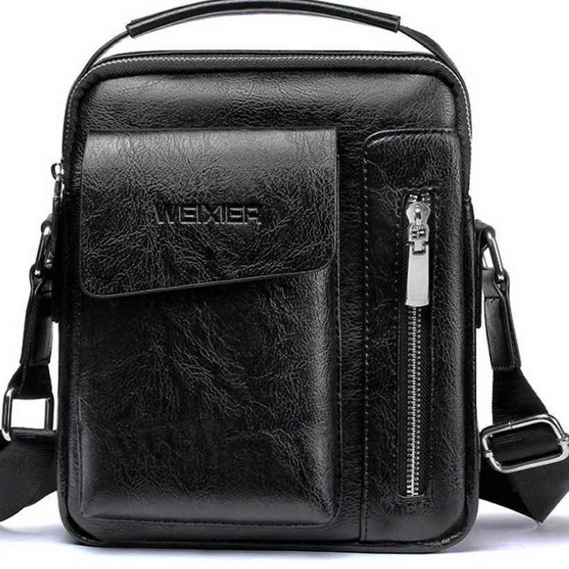 Bolso de mano para hombre, bolso de mensajero de 2 juegos para hombre, bolsos de hombro de cuero Pu, bolso Casual de negocios, maletín negro pequeño de marca famosa