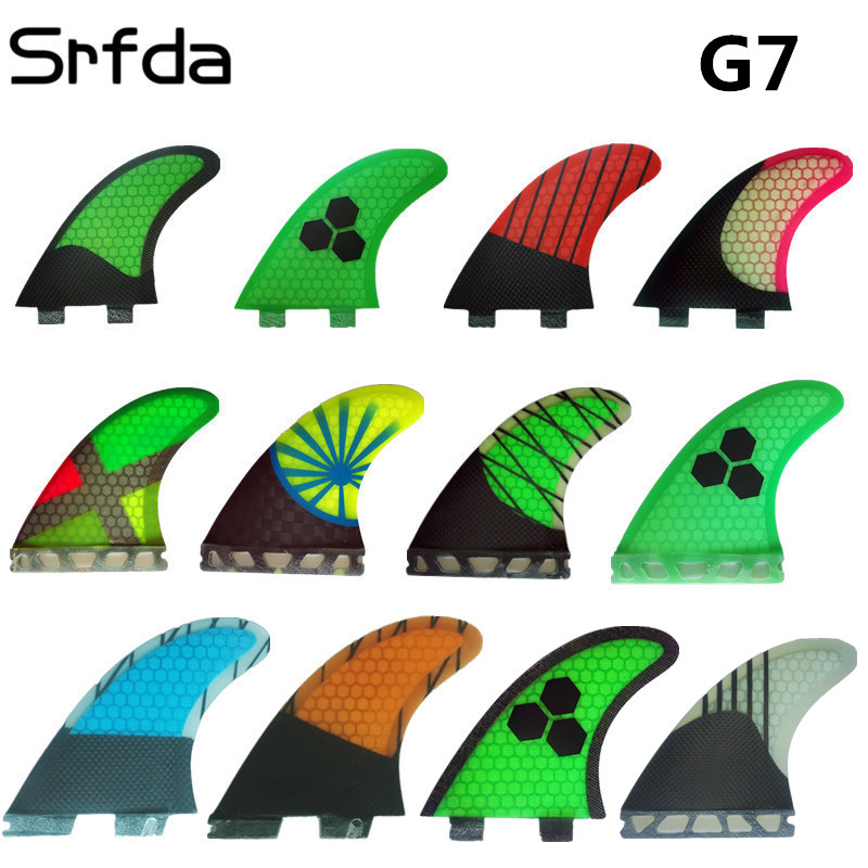 Surfing Srfda Fcs /fcs Ii/future Surfboard Fin Design Surfing Fins/ G7 L Size With Fiberglass Honey Comb Material three-set Water Sports