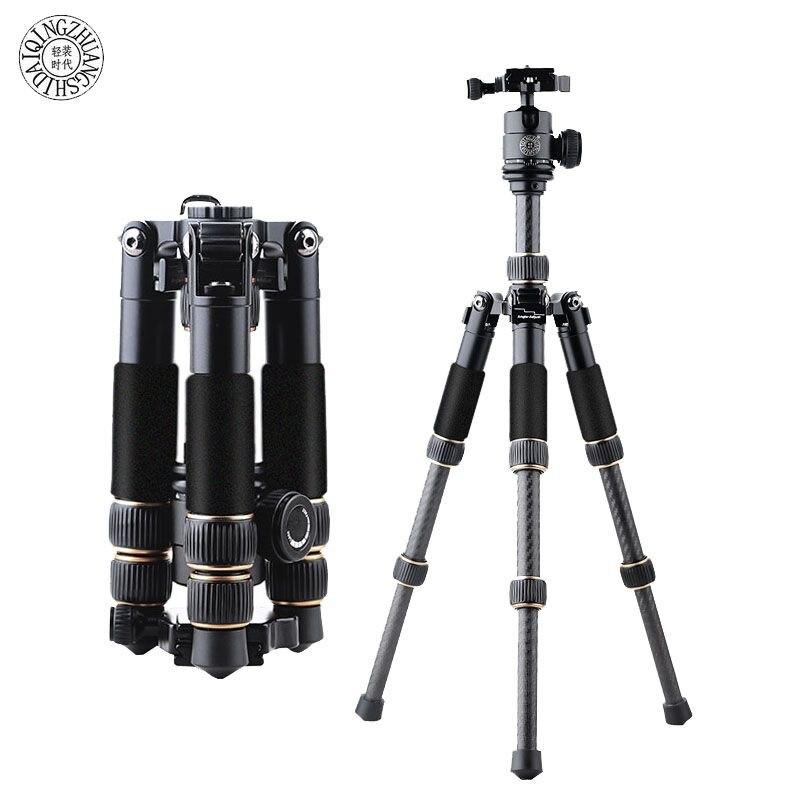 Fosoto Q166C Professional Portable Travel Carbon Fiber Table Mini Tripod Monopod Stand & Ball Head For SLR DSLR Digital Camera
