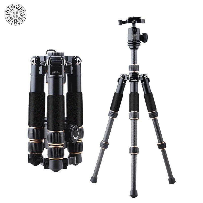 Fosoto Q166C professionnel Portable voyage en Fiber de carbone Table Mini trépied monopode support et rotule pour appareil photo numérique reflex numérique DSLR