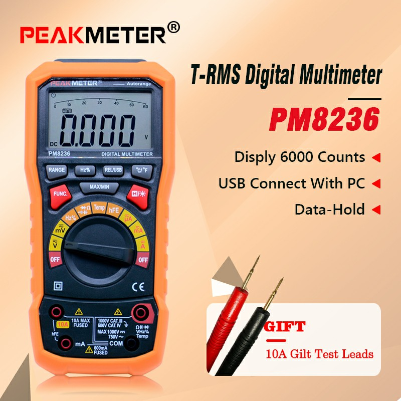 PEAKMETER MS8236 6000 Counts Digital Multimeter with T RMS USB 1000V 10A 60M Ohm 100mF 10MHz