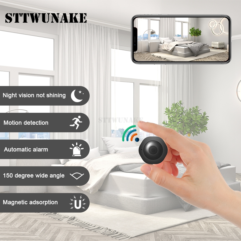 <font><b>Mini</b></font> <font><b>wifi</b></font> <font><b>camera</b></font> IP hd secret cam 1080p wireless small videcam home outdoor STTWUNAKE Protection <font><b>Spy</b></font> Authorized store image