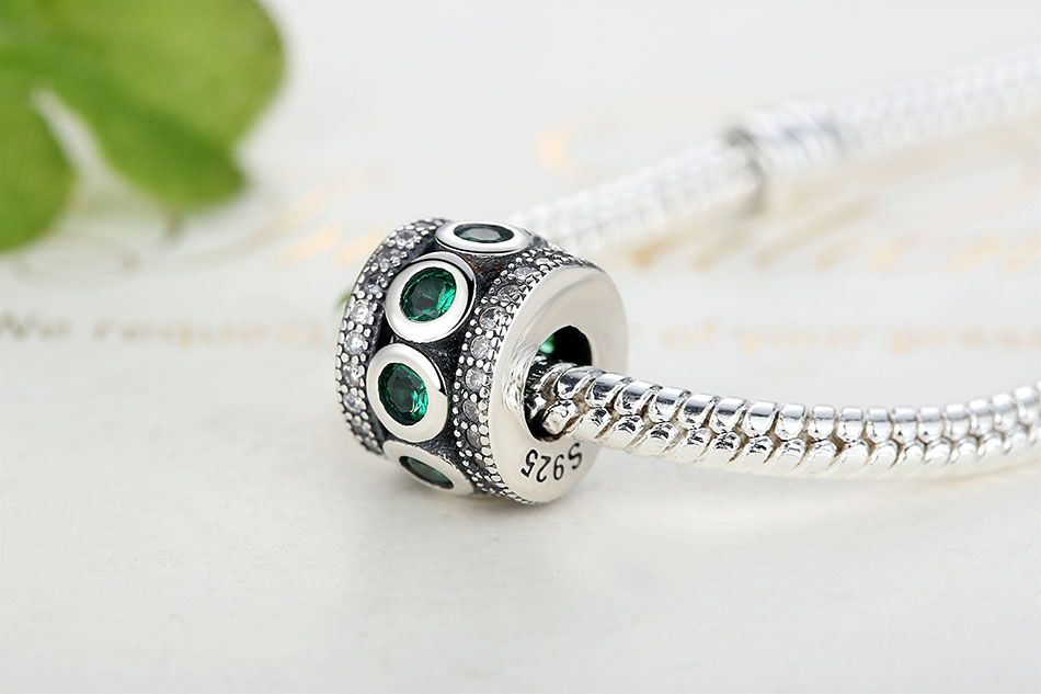 925 Sterling Silver Shining Path Spacer Beads Green Stone Round Charms fit  Bracelets & Bangles Women Fashion Jewelry