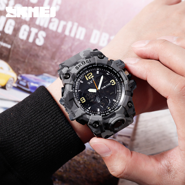 SKMEI Brand Luxury Military Sports Watches Men Waterproof Dual Display Wristwatches