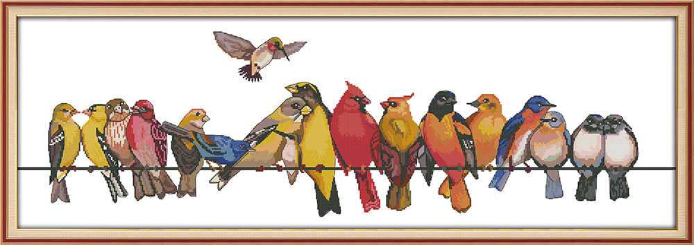 The birds gathered cross stitch kit aida 14ct 11ct count printed canvas stitches embroidery DIY handmade needlework