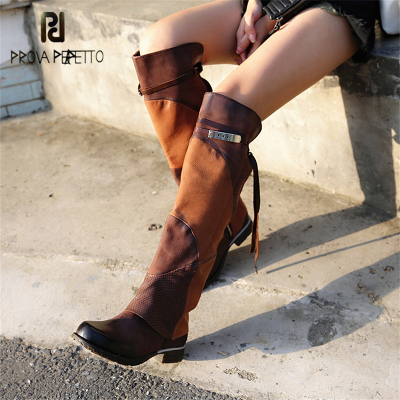 Prova Perfetto Fashion Slim Fit Women Knee High Boots Genuine Leather Autumn High Boots Female Platform Rubber Flat Martin Boot