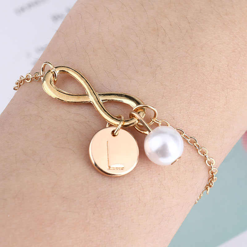 81f11da2b4 Personalized Gold Silver Infinity Bracelet For Women A-Z 26 Letter Pearl  Charm Bracelet Adjustable Wristband Simple Jewelry Gift