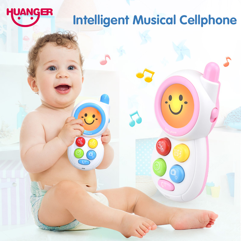 Huanger Smile Musical Phone Kids Toys Electronic Baby Rattles Mini Flashing Vocal Children Early Sounding Educational Mobile Toy
