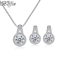 BAFFIN Real Pure 925 Sterling Silver Round Pendant Necklace Stud Earring Sets With Cubic Zirconia For Bridal Wedding Jewelry