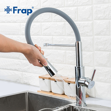 Frap kitchen sink faucet pull out single faucet  water tap  chrome home  Swivel Spout Kitchen Sink Tap Deck Mounted  Mixers недорго, оригинальная цена