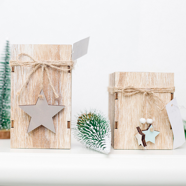 Christmas Tree Decoration Wood Candlestick Candle Holder Christmas Decorative Lanterns With Hanging  Home Decor Gift 50XX138