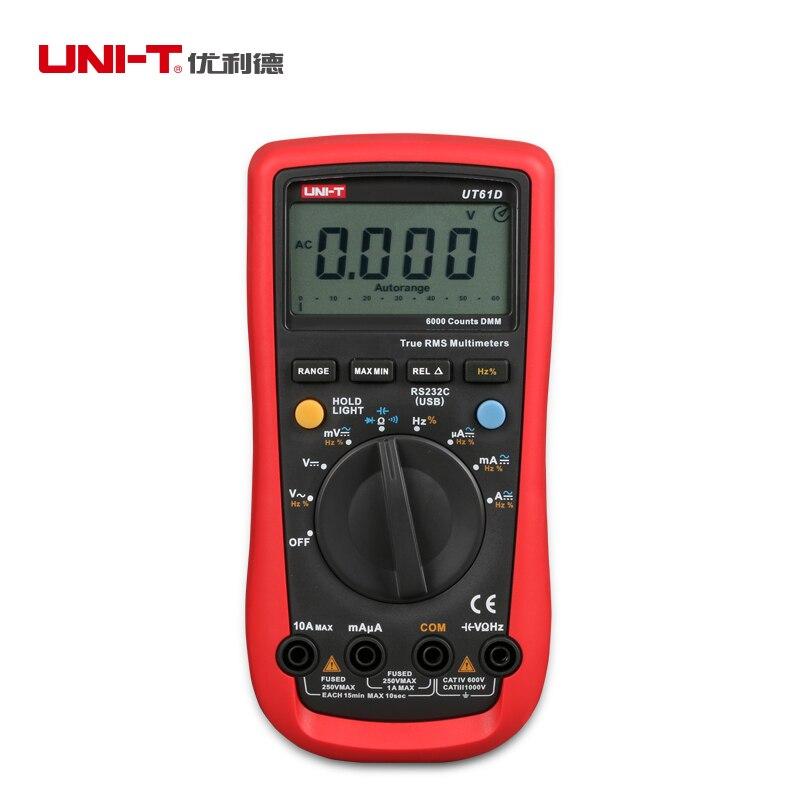UNI-T UT61D Digital Multimeter Auto Range True RMS DMM AC/DC V/A Ohm Freq B0632 vici vc88 3 3 4 autorange digital multimeter dmm w logic test f t r c dc ac v a