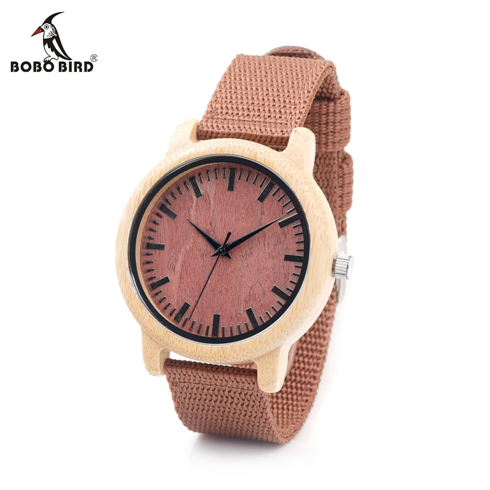 BOBO BIRD CaD09 Fashion Bamboo Wood Watches Red Nylon Straps Wooden Dial Face Watch for Women Men in Gift Boxes bobo bird new fashion bamboo wood watch soft silicone strap japan movement quartz watch for women men in gift boxes b07 b08