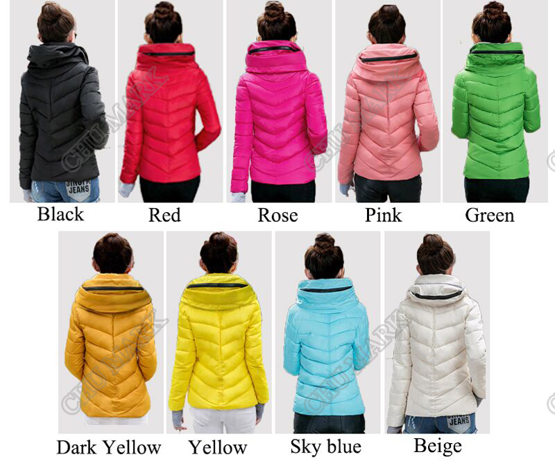 Winter Jacket Women Parkas Thicken Outerwear solid hooded Coats Short 14