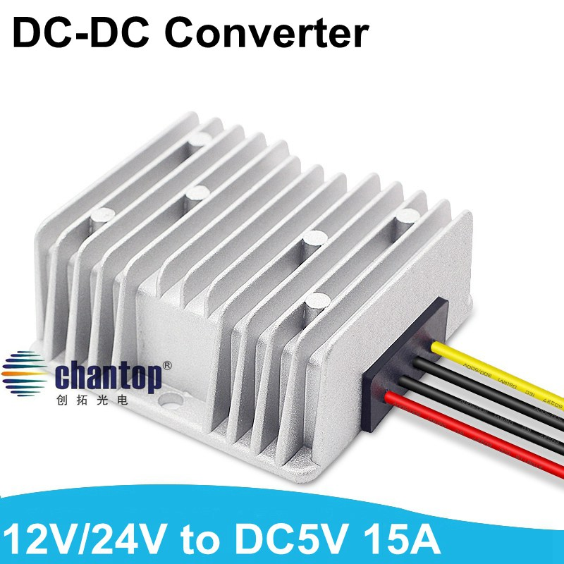 High quality DC to DC Converter Step Down buck module 12v/24v to 5V 15A 75W bus/Car/Vehicle waterproof led screen power supply 24v 12v to 5v 5a dc dc step down buck converter module power supply led lithium charger 233517