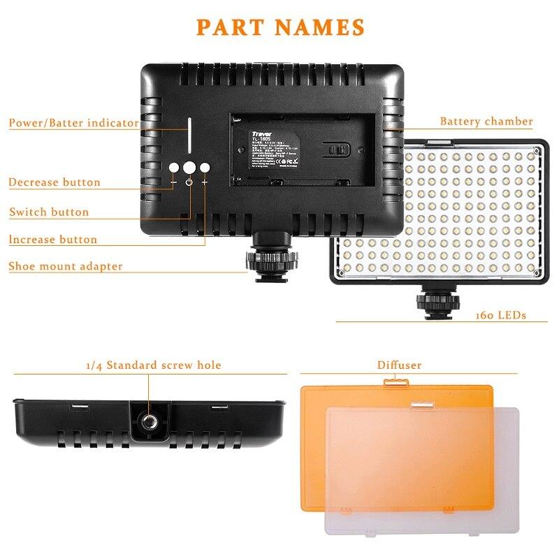 SAMTIAN fotografía iluminación LED Video luz 160 Uds Panel luz regulable con trípode para cámara Video estudio foto fotográfica - 2