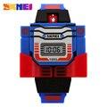 Skmei niños led digital de moda niños de dibujos animados reloj relojes deportivos robot transformación juguetes niños relojes de pulsera relojes 1095