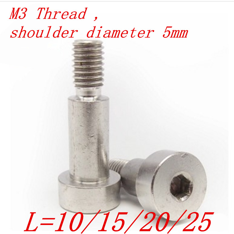 10pcs <font><b>M3</b></font> thread <font><b>5mm</b></font> diameter MSB stainless steel 304 shoulder <font><b>screw</b></font> image