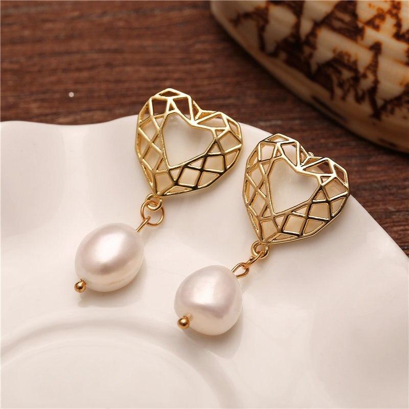 17KM New 25 Pearl Drop Earrings For Women 19 Brincos Long Geometric Dangle Earring Gold Female Vintage Jewelry Gift 28Pearl earrings | Golden earrings | Suitable for women
