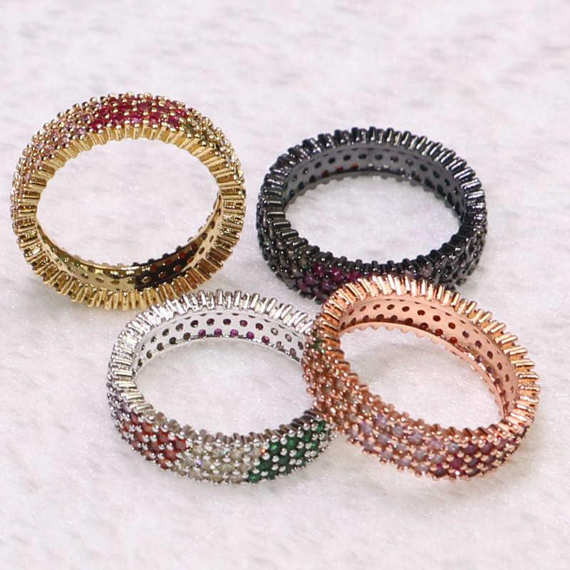 4 Pcs ผสมสี Zircon แหวนหินแหวนที่มีสีสันไม่สามารถปรับได้แหวน pick ขนาดแฟชั่นของขวัญเครื่องประดับสำหรับสุภาพสตรี 7157