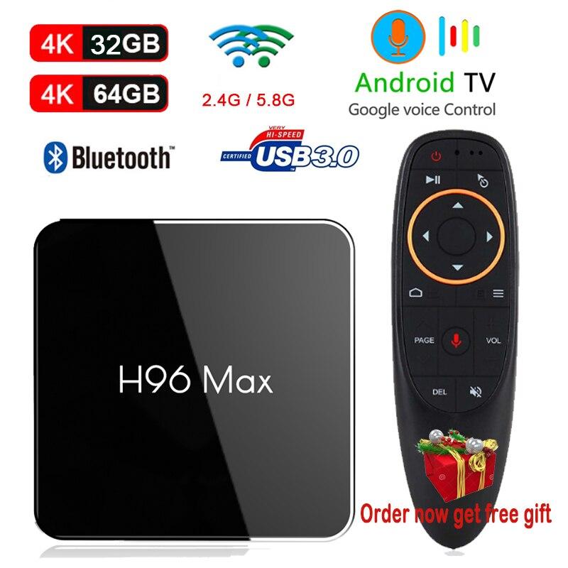 Boîtier TV H96 MAX PLUS X2 Android 8.1 contrôle vocal Google Amlogic S905X2 Quad Core 4 GB 32 GB 64 GB 4 K boîtier décodeur 3D PK T9