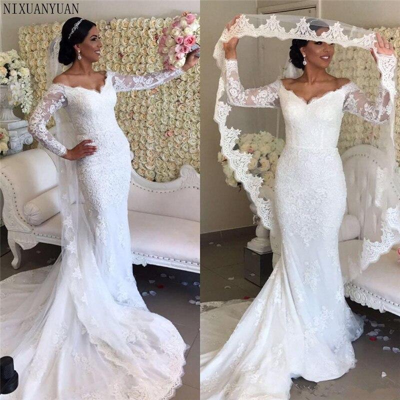 Vintage Mermaid Long Sleeve Wedding Dresses Bridal Gowns V Neck Off The Shoulder Illusion Lace Applique African Black Women