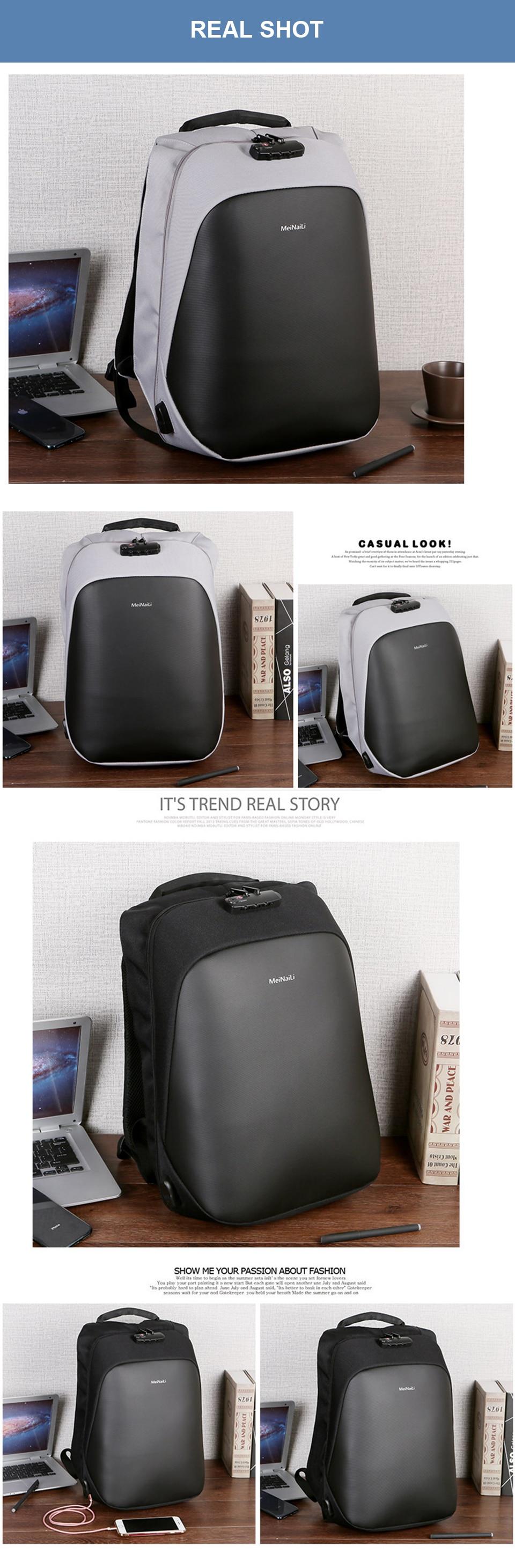 9 Anti-theft Backpack Men Backpacks Laptop 15.6'' Business Travel Luggage Bag Pack Waterproof USB Password Lock Male Backpacking