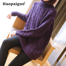 Winter Thick Warm Women Cotton Sweater Tops Knitted Pullover Purple Jumper Turtleneck Casual Knitwear For