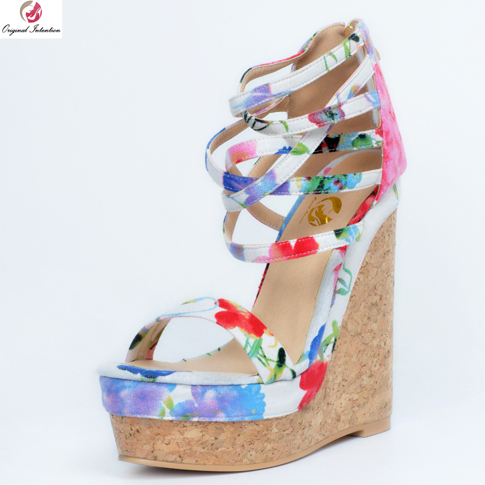 Первоначальное намерение Великолепные женские босоножки разноцветная на платформе открытый носок сандалии на танкетке Красивая обувь жен...