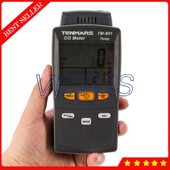 1000 counts Dual display Digital CO Gas Detector Analyzer TM801 with 0-1000ppm Portable Carbon Monoxide Meter Tester