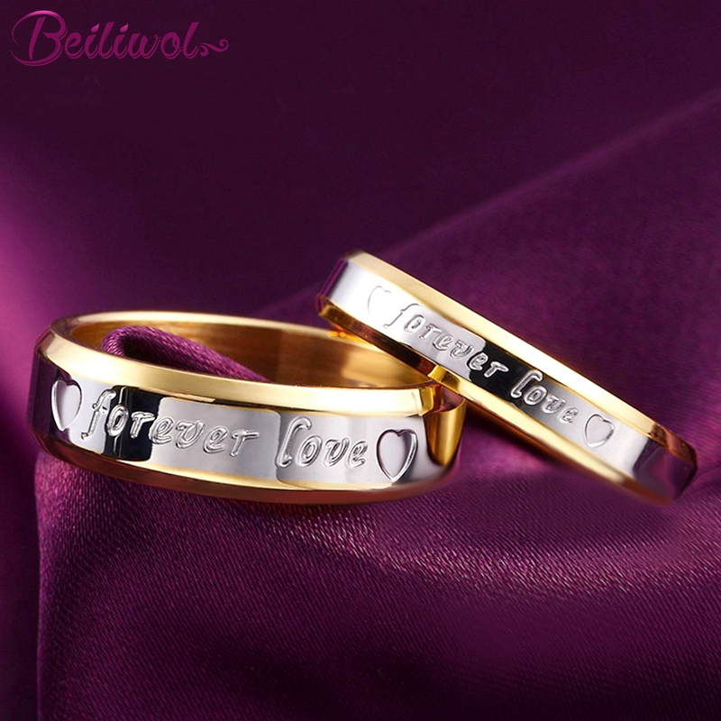Beiliwol Wedding Rings for Women Men Jewelry Heart Forever Love Engraved Stainless Steel Gold-color Engagement Couple Set 2pcs