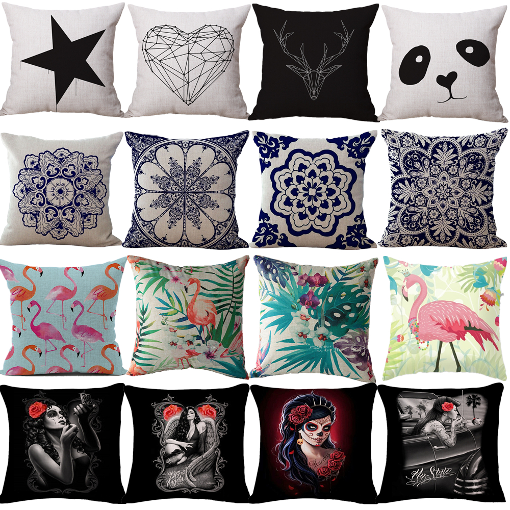 online buy wholesale geometric pillows from china geometric  - cushion cover geometric pillow case love halloween women bohemian flamingoflower panda abstract animal decorative throw