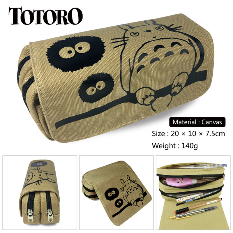 Totoro Canvas Bags No Face Man Anime Double Zipper Pencil Bag Pencil Case Gifts For Kids Stationery School Supplies Black 20cm