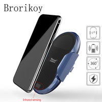 Automatic Mount Qi Wireless Car Charger for iPhone X 8 Samsung Galaxy S8 S9 Note 8 Infrared sensing Holder Fast Wireless Charger